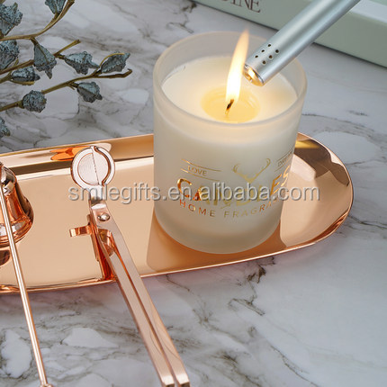 Rose Gold  Luxury Scented Candle Wick Trimmers Snuffer Dipper Scissors Gift Box
