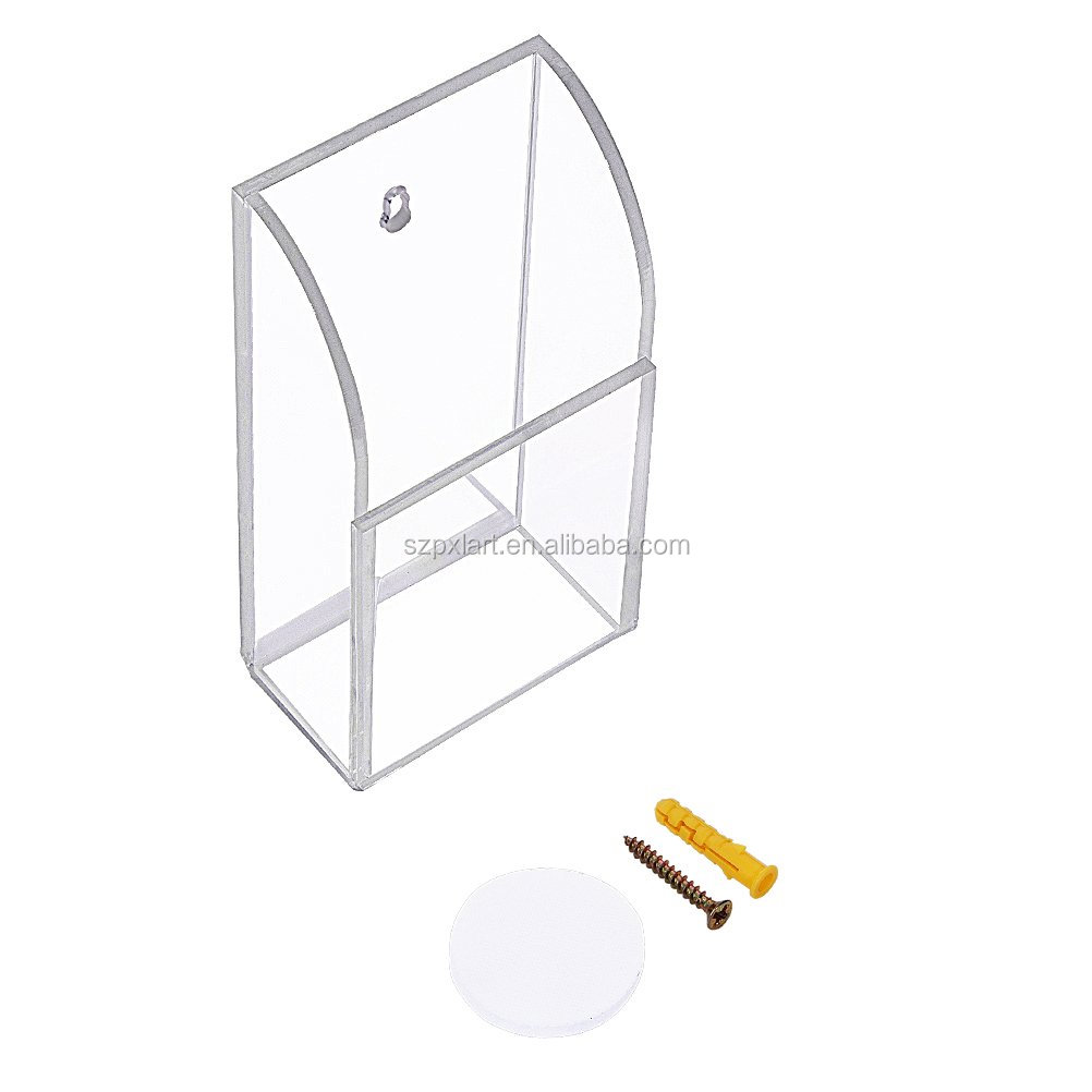 Clear Acrylic Remote Control Holder Wall Mount Media Organizer Storage Box (One Compartment) made in China