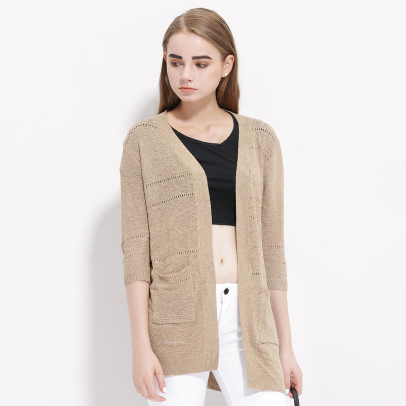 European Autumn Style Solid Color Stitching Fashion Cardigan 2015 New Arrival Women Sweaters High Quality Knitted Cardigan SW011