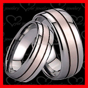Latest gold plated black tungsten wedding ring set without stones