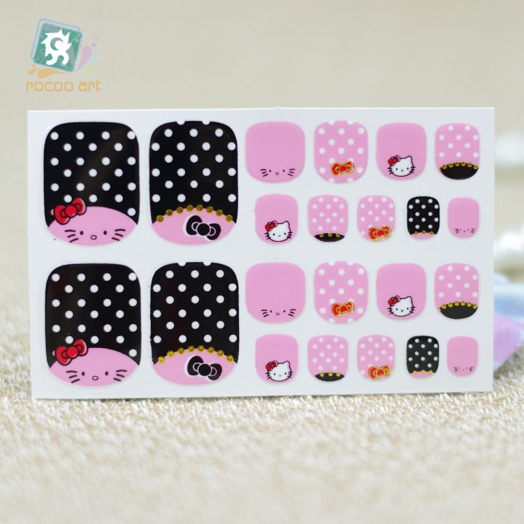 22 Pcs Pink Black Cute Toe Nails Art Wraps Sticker With Hello Kitty