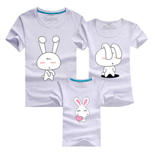 Family look Summer Cute little rabbit Short sleeve T shirt matching clothes family For Mother And