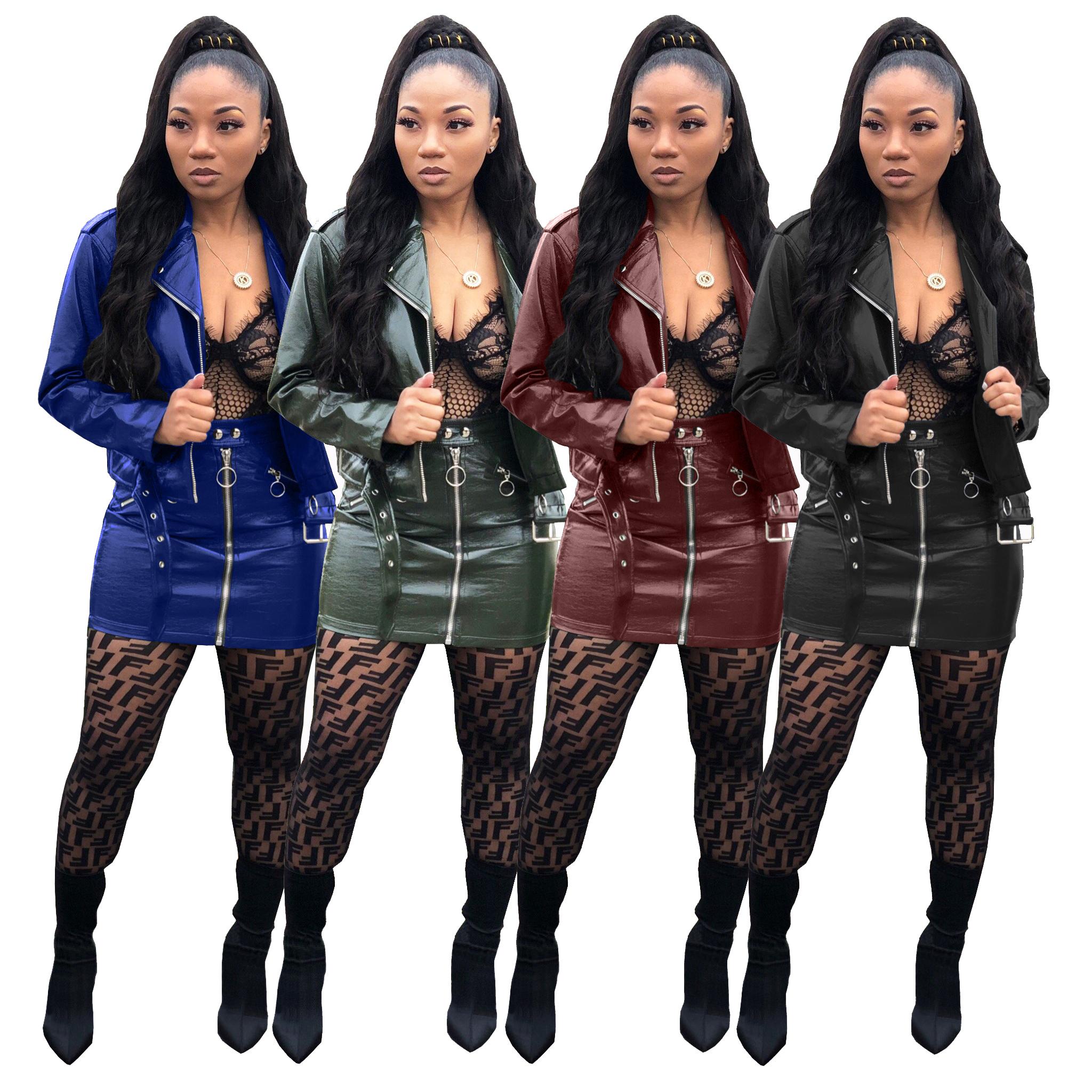 Sexy women pu leather jacket jacket and skirt set фото