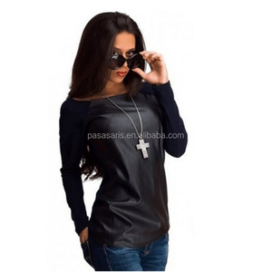 AL5072W Fashion autumn ladies pu leather tops black long sleeve patchwork casual winter blouse women t-shirts