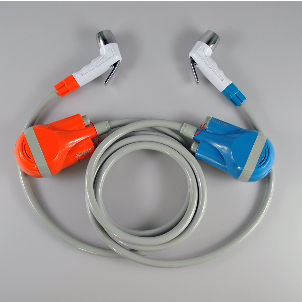 <strong>Orange</strong> & blue twin shower sets perfect for outdoor camping/hiking/traveling, portable bidet sprayer