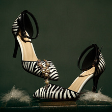 in heel a summer sandals zebra the pointed stiletto Leather 2014 of wYqx1RUw