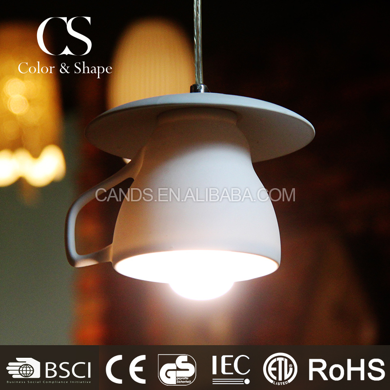Modern coffee cup hanging pendant lamp for restaurant decoration