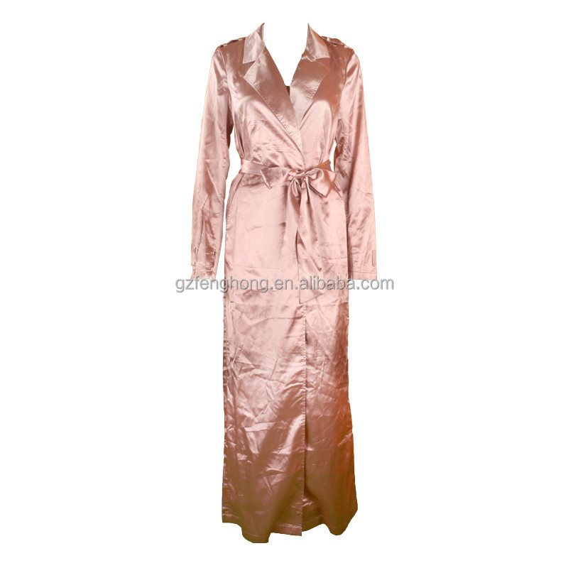 Perfect Matching Bandage Dress!!!New Fashion 2016 Jackets Elegant Rose Gold Stain Womens Long Duster Coat Jacket