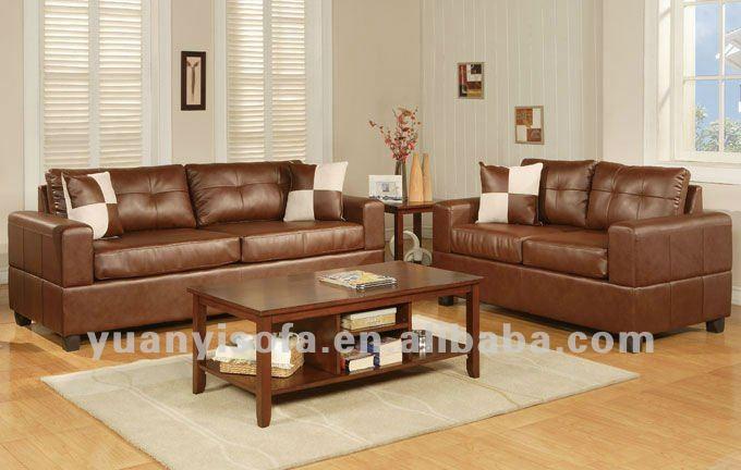 modern gaya sederhana ruang tamu sofa coklat kulit ruang