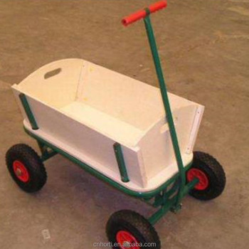 Delicieux EL 833 Kids Wooden Garden Trolley Wagon Cart