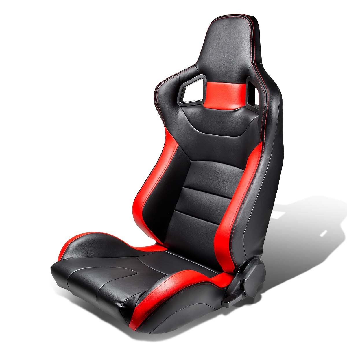 Right, Passenger Side Tuner Series Full Reclinable Black Leather Racing Seats With Red Trim