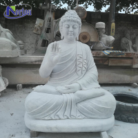 Factory direct price marble outdoor garden large white stone meditating buddha statue for sale