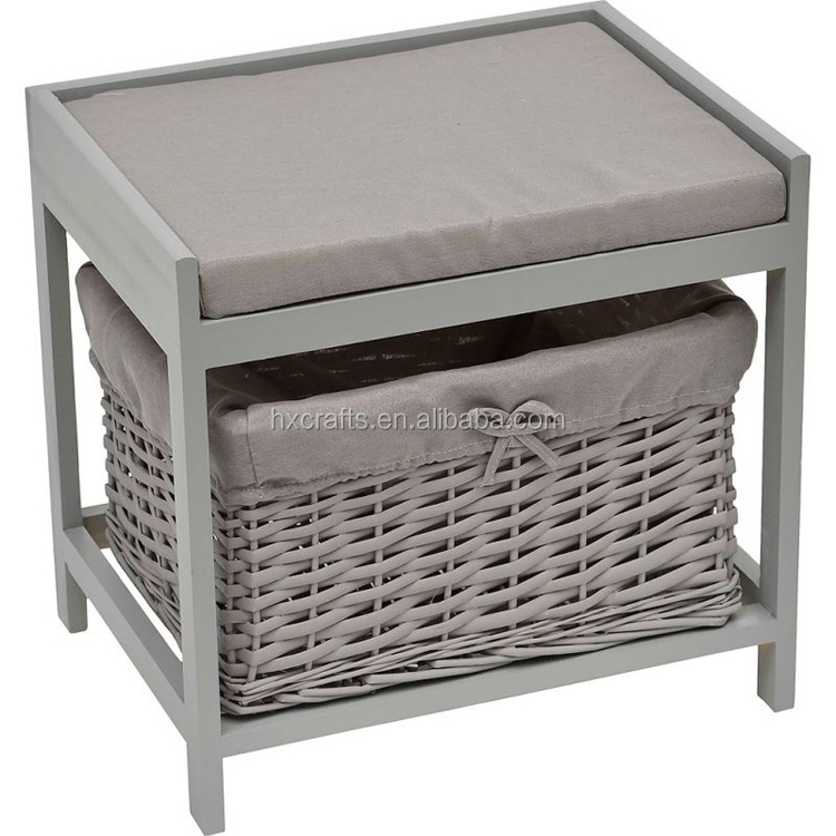 Grey Change Shoes Stool With Willow Drawer