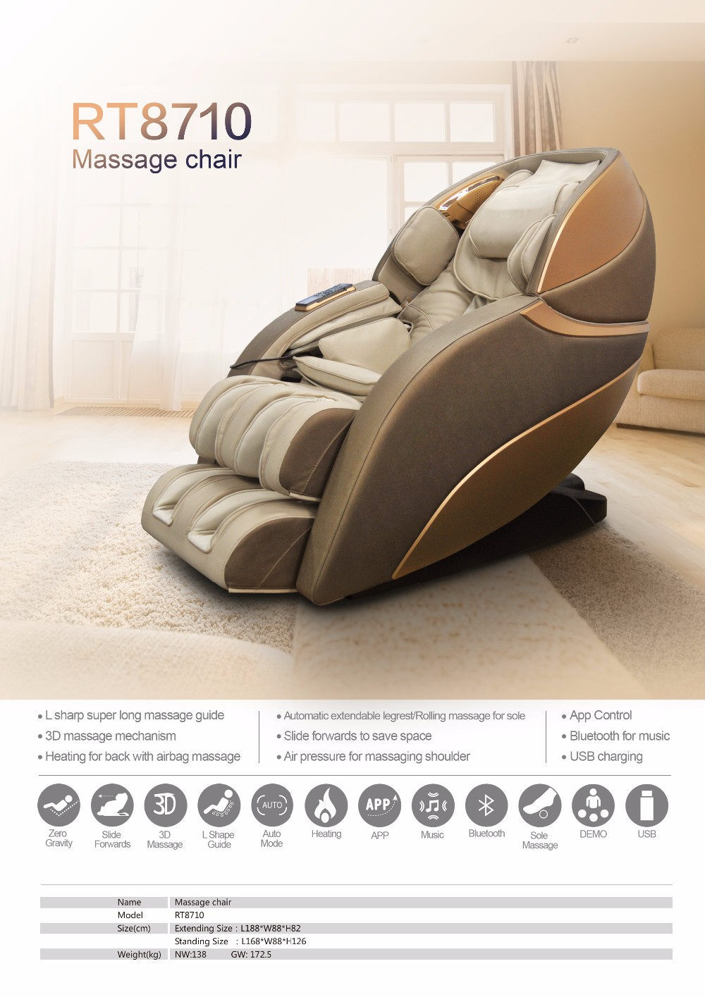Rongtai RT8710 Massage Chair 3d Zero Gravity/innovative Massage Chair/music Massage  Chair