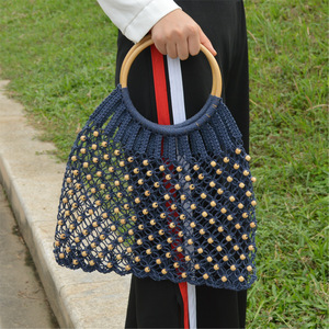 Bamboo round handle blue cotton woven crochet beaded mesh straw bags for lady