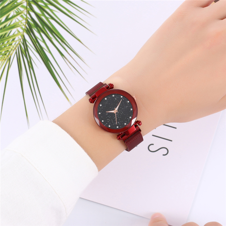 Women Mesh Magnet Buckle Starry Sky Wrist Watch Casual Geometric Surface Quartz Watches