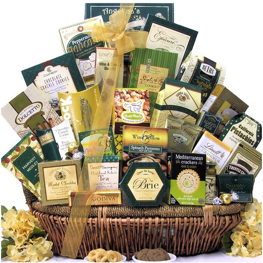 Gourmet Food/Chocolate Gift Basket, Includes a Wide Assortment of Gourmet Cheeses, Crackers, Nuts, Meats, Snacks, Cookies, Chocolate, Candy and More