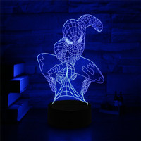 3D Mode Spiderman Ironman Cartoon LED Night Light Decoration Table Lamp Nightlight USB or 3AA Battery Charge Lights