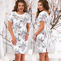 women casual print zippers white short sleeve knee length dress loose fashion loose o neck dress