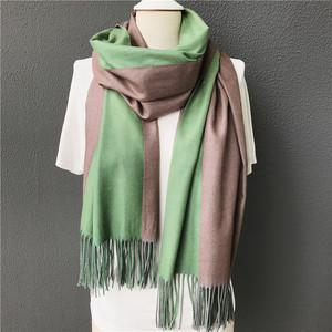 Olive green and pink color winter warm cashmere acrylic women shawls scarf wholesale