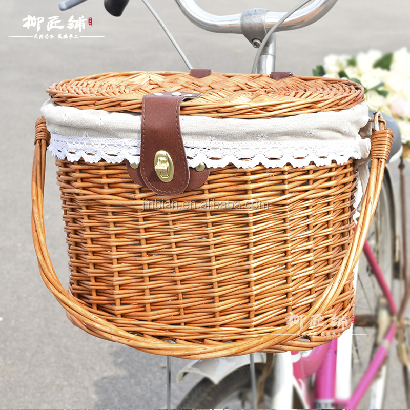2017 hot sale new style wicker basket bicycle basket