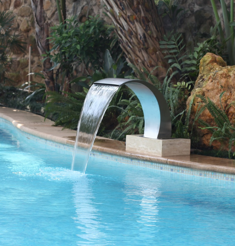 China supplier outdoor decorative stainless steel swimming pool fountains wall hanging waterfall spa shower equipment