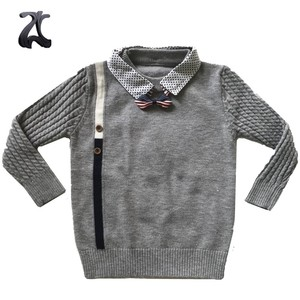 New Design Cotton Baby Ribbing Knit Cable Toddler Sleeve Sweater
