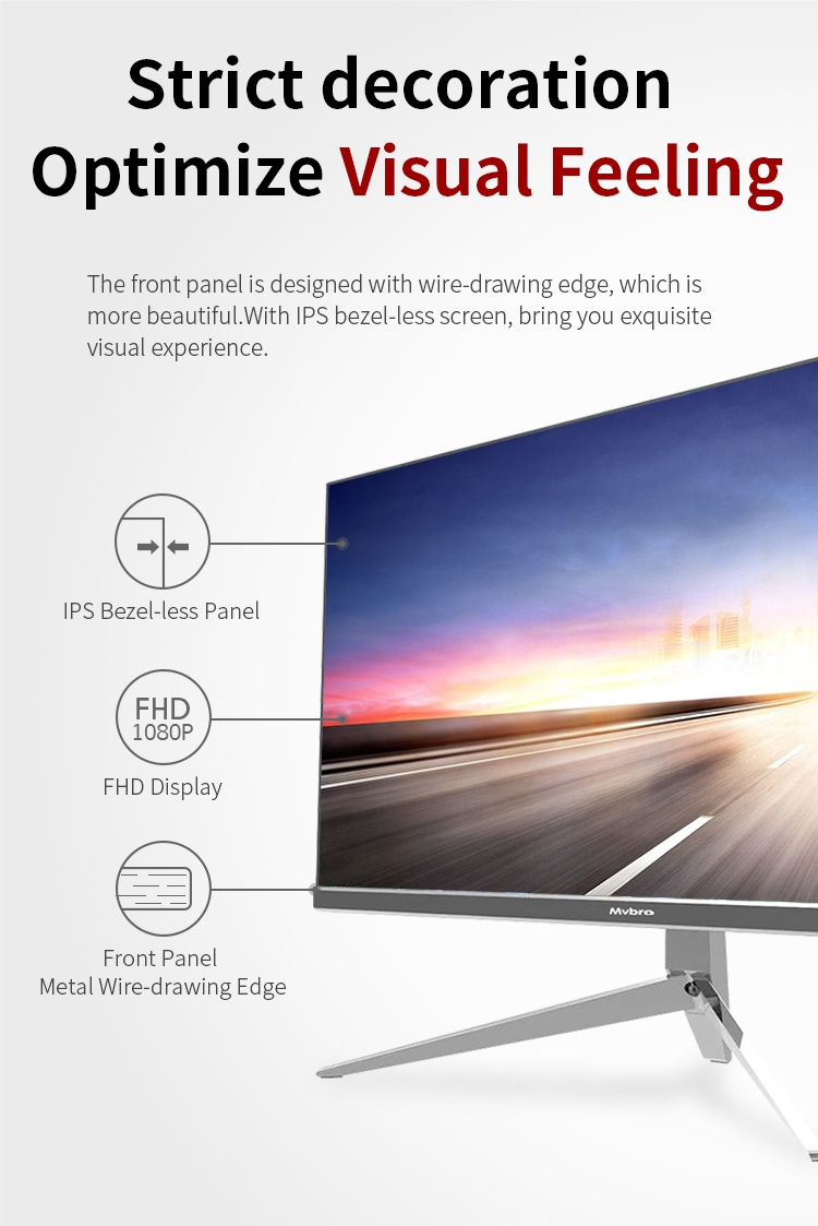 21.5 Inch Latest model Bezel-Less AIO Desktop Computer with Intel i3/i5/i7 CPU All In One PC support windows 10