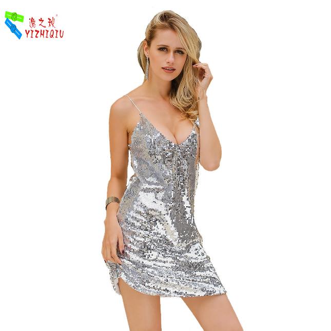 YIZHIQIU Party Dress Metallic Sequin Swing Dress