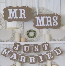 Svadobná dekorácia Mr and Mrs a Just Married