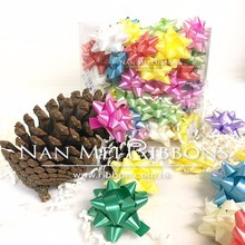 "Hot Selling 100pcs Star Bow Box set 1.5"" Inch 38mm diameter colorful Floral bow making Machine Solid PP Plastic Ribbon Gift Wrap"