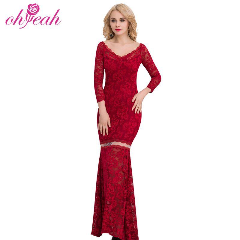 Vestidos rojos vino largos