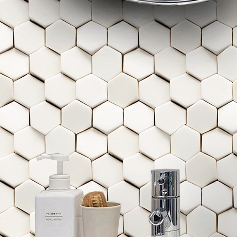 New Design Cube 3D Beveled Hexagon Shaped Mosaic Tile