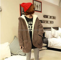 Hooded cardigan sweet color coat jacket tops new Long sleeve Women Girl dress
