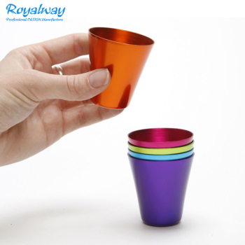 Anodized Aluminum Shot Glasses, Vintage Metal Shot Glass