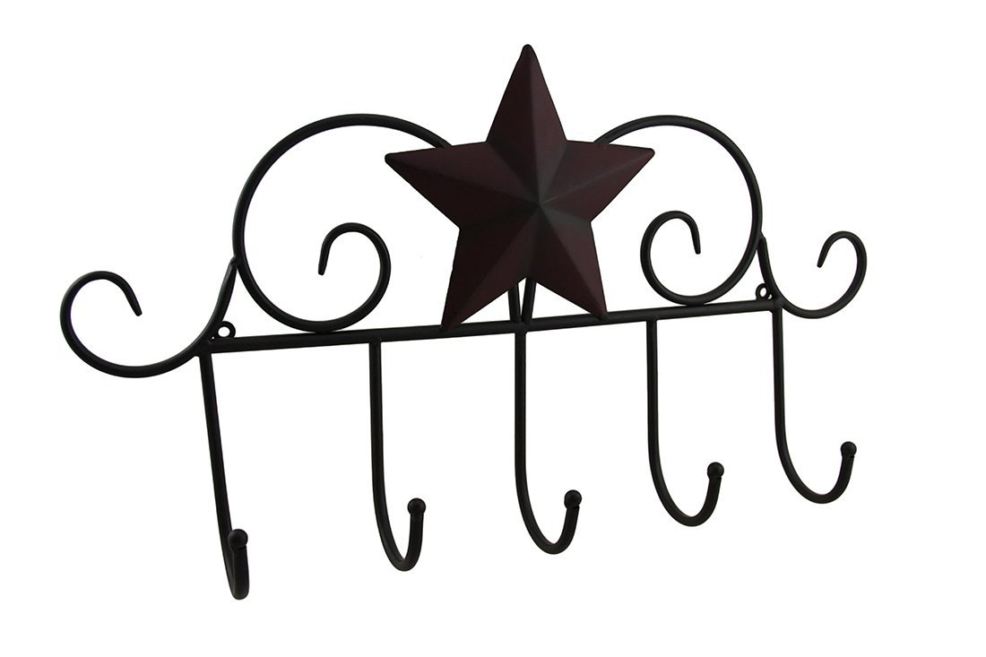 Zeckos Metal Decorative Wall Hooks Rustic Western Star Decorative Metal Wire Scroll Wall Hook 21.5 X 12 X 3.5 Inches Brown