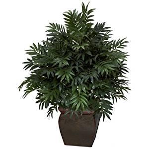 Wholesale Triple Bamboo Palm w/Decorative Planter Silk Plant, [Decor, Silk Flowers]