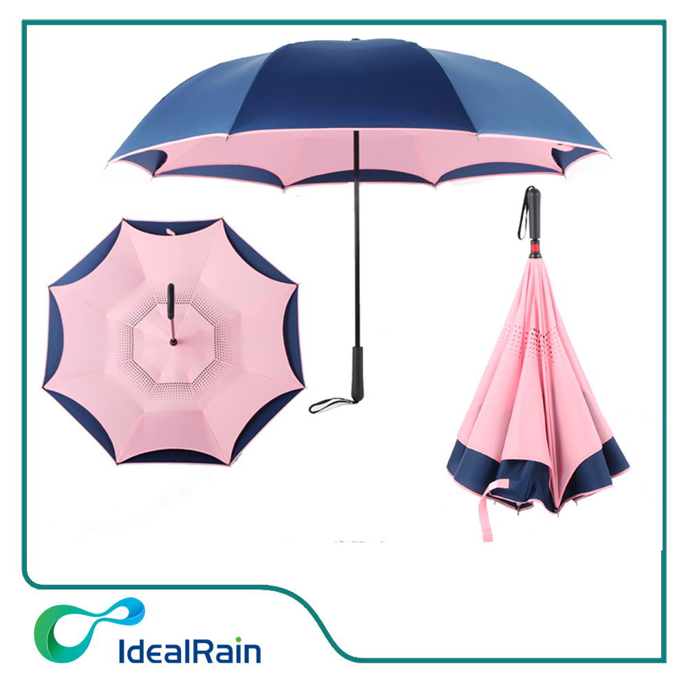 Reverse windproof double layers various color inverted umbrella for car