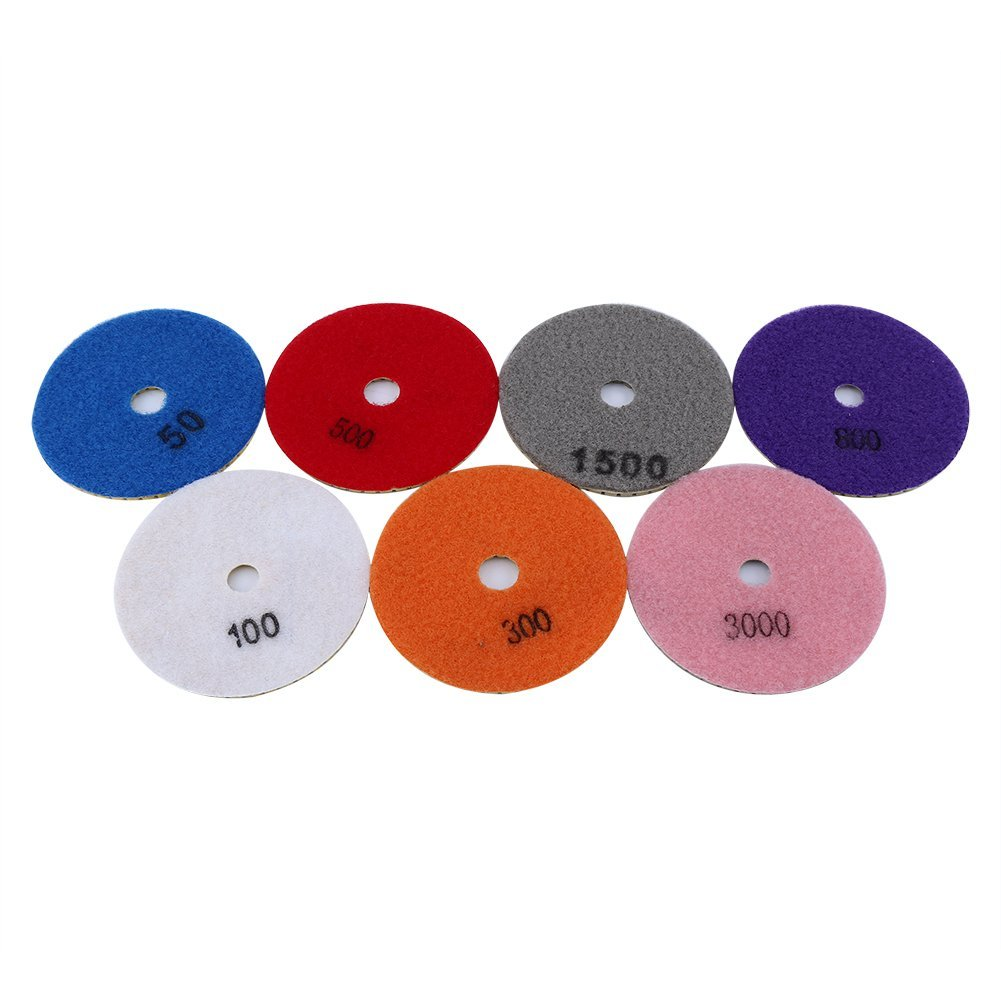 Nixikoo Superior Diamond Wet Dry Polishing Pads Disc Set Kit for Granite Marble Concrete Stone Buffing Polishing,4 inch ,Pack of 7,Includes 7 Grinding Discs(#50/100/300/500/800/1500/3000)