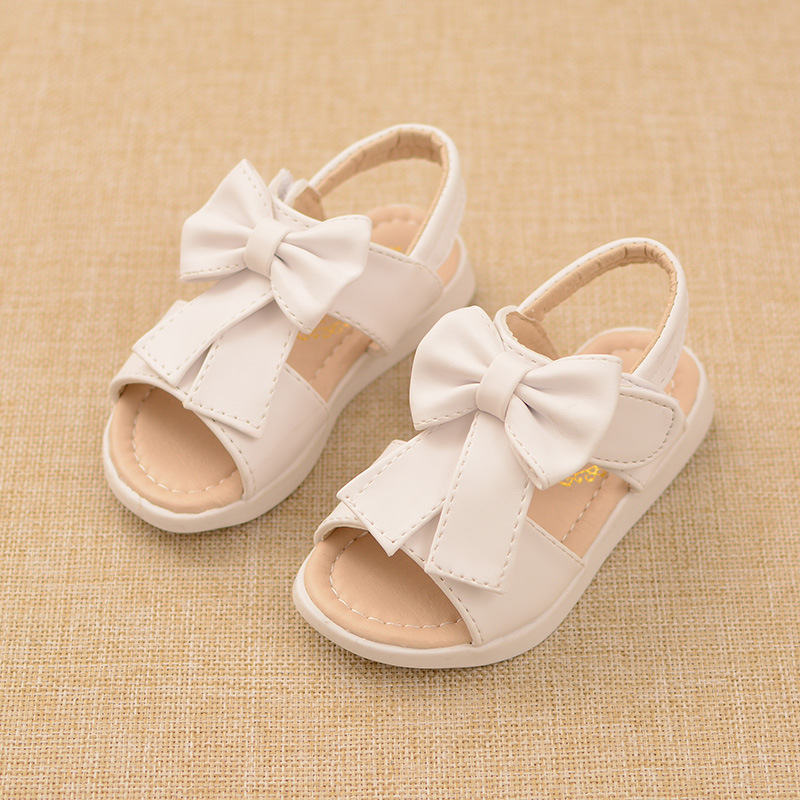 2016 Girls Summer Sandals Shoes Little Kids Open toed Sandals Slipers Children Toddlers Beautiful Bow Princess