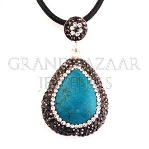 925 Sterling Silver Pendant Druse Jewelry Modern Turkish Designer