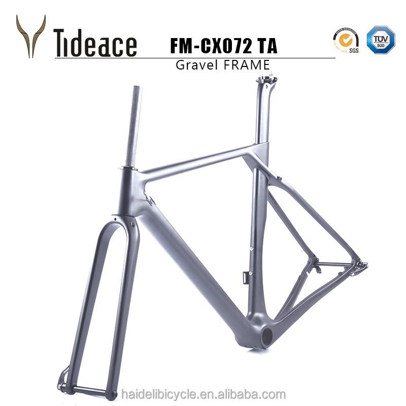 2017 New Arrivals Carbon Fiber T800 Gravel Frameset OEM Road Bike Frames FM-CX072 S/M/L/XL Grave Frameset, Black
