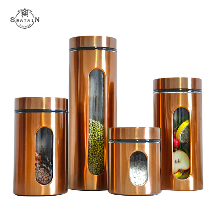 High quality 4-piece stainless steel glass kitchen canister sets