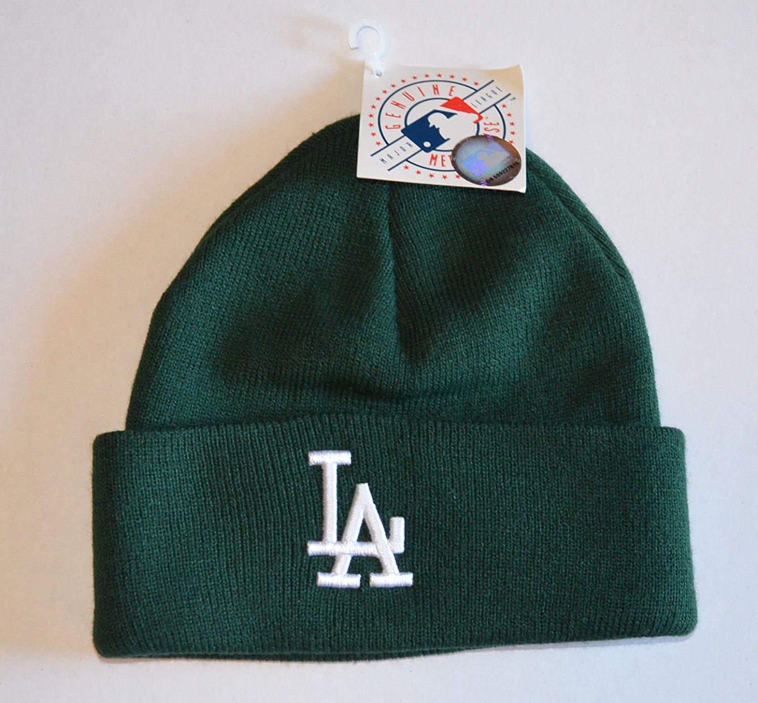 Get Quotations · Los Angeles Dodgers Green Beanie Hat - MLB LA Cuffed  Winter Knit Toque Cap 568c863220da