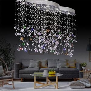 C5987-5 Hanging Lamp Lighting And Lamp Modern Crystal Pink Chandelier