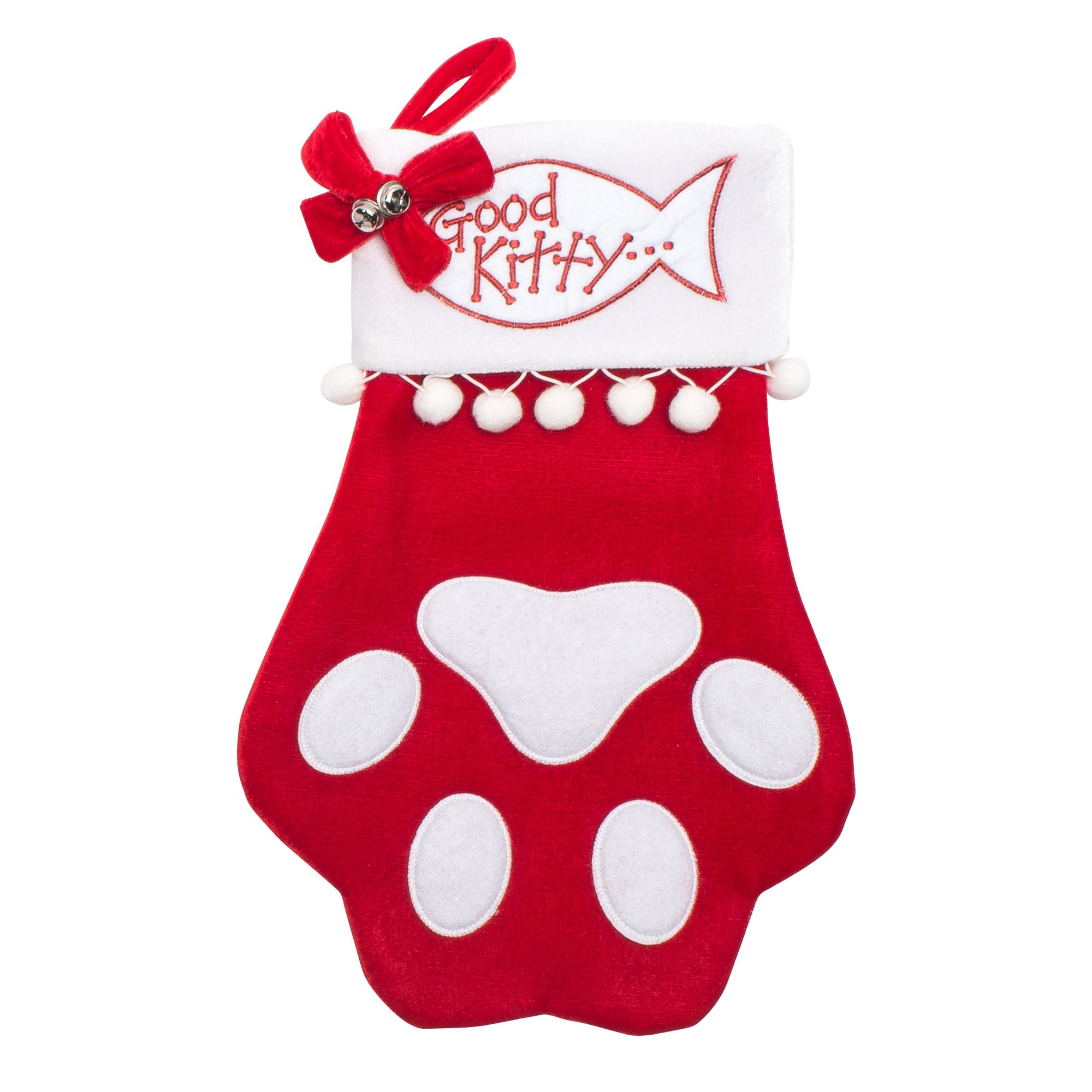 Cat Christmas Stocking - Cat PAW - Good Kitty - large size 18""