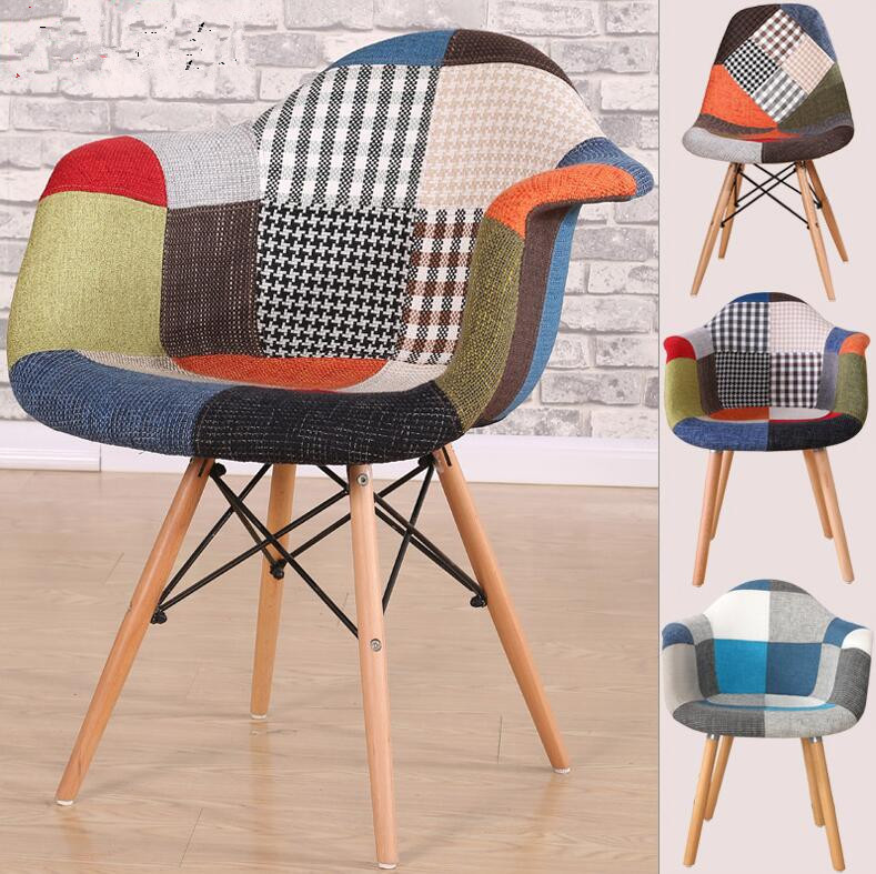 2018 beech wood Living room patchwork fabric armchair lounge chair leisure chair