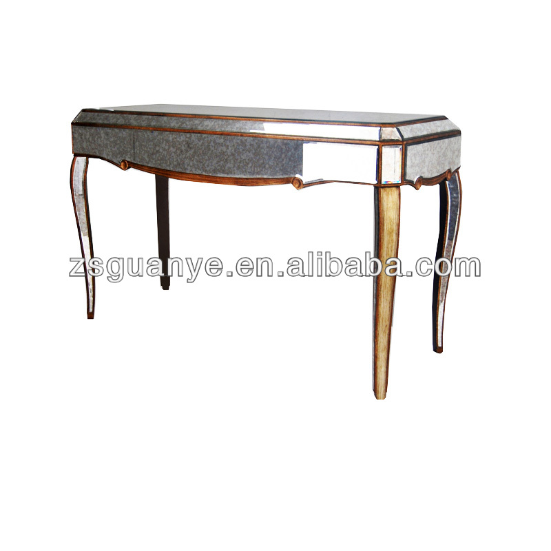 Gold Antiqued Mirror Console Table /mirror   Buy Gold Color Mirrored  Antique Console Table,French Style Mirrored Console Table,Antique Console  Table Product ...