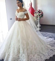 Lace Applique Wedding Gown Sweetheart High QualityTulle Ball Gown Wedding Dresses with the Long Veils Free