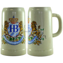 1000ml Sublimation Light Grey Ceramic Beer stein Mugs